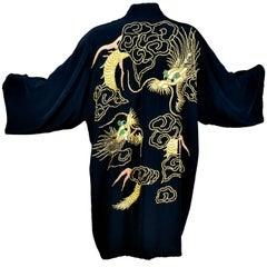 Vintage Black Silk Dragons Kimono with Thick Gold Metallic Embroidery