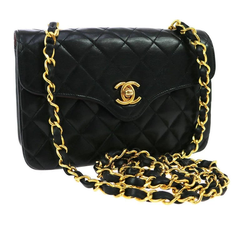 Chanel Quilted Black Lambskin Leather Gold Small Evening Flap Shoulder Bag