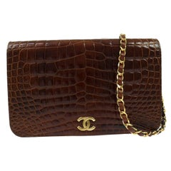 Chanel Rare Vintage Crocodile Cognac Gold Evening 2 in1 Clutch Flap Shoulder Bag
