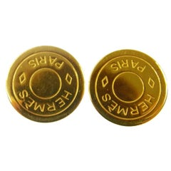 Hermes Gold Round Coin 'HERMES PARIS' Charm Evening Stud Earrings