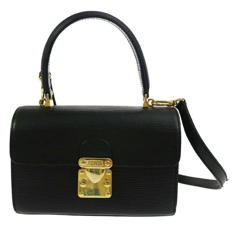 Fendi Black Epi Leather Gold Kelly Top Handle Satchel Shoulder Crossbody Bag