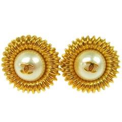 Chanel Vintage Gold Pearl Charm Sunburst Evening Stud Earrings