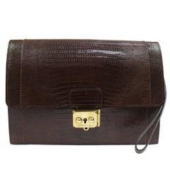 Hermes Chocolate Lizard Leather Gold Envelope Evening Flap Wristlet Clutch Bag