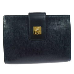 Celine Navy Blue Leather Toggle Gold Flap Evening Clutch Bag