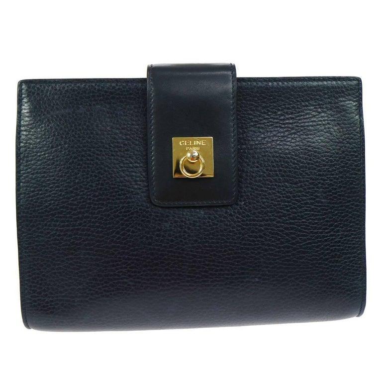 Celine Navy Blue Leather Toggle Gold Flap Evening Clutch Bag