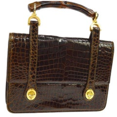 Gucci Vintage Cognac Bamboo Crocodile Evening Kelly Top Handle Satchel Flap Bag