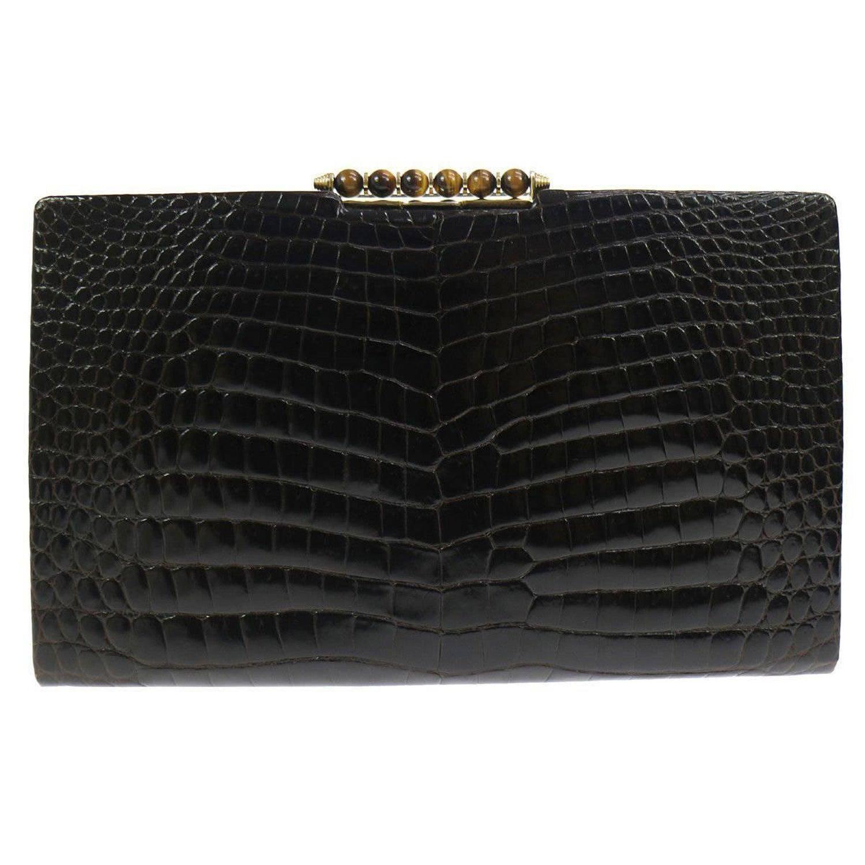 777428a106f508 Gucci Vintage Crocodile Skin Leather Gold Evening Envelope Clutch Bag