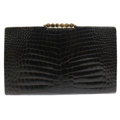 Gucci Vintage Crocodile Skin Leather Gold Evening Envelope Clutch Bag