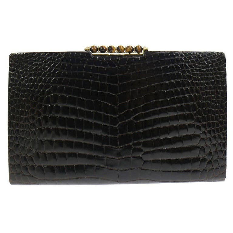 8beb88b0e1a Gucci Vintage Crocodile Skin Leather Gold Evening Envelope Clutch Bag For  Sale