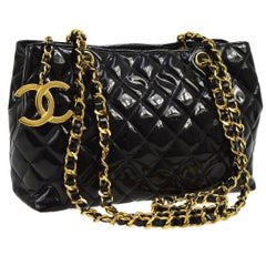 Chanel Black Quilted Patent Leather Gold Charm Carryall Evening Shoulder Bag