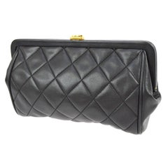 Chanel Black Quilted Lambskin Gold Charm Kisslock Evening Pouch Clutch Bag