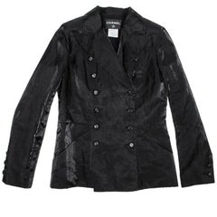 CHANEL Crossed Black and Shiny Linen Blazer Size 40FR