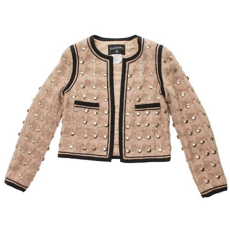 Collector CHANEL Jacket in Beige Wool Fully Studded Size 38FR For Sale