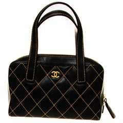 CHANEL Quilted Top stitched Top Handle Bag