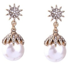 Chic Oscar De La Renta Faux Pearl and Faux Diamond Statement Earrings