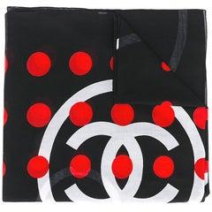 Chanel Vintage polka dot logo scarf