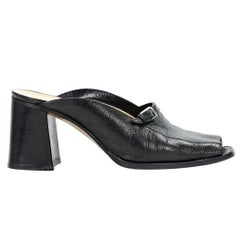 Black Costume National Peep-Toe Mules