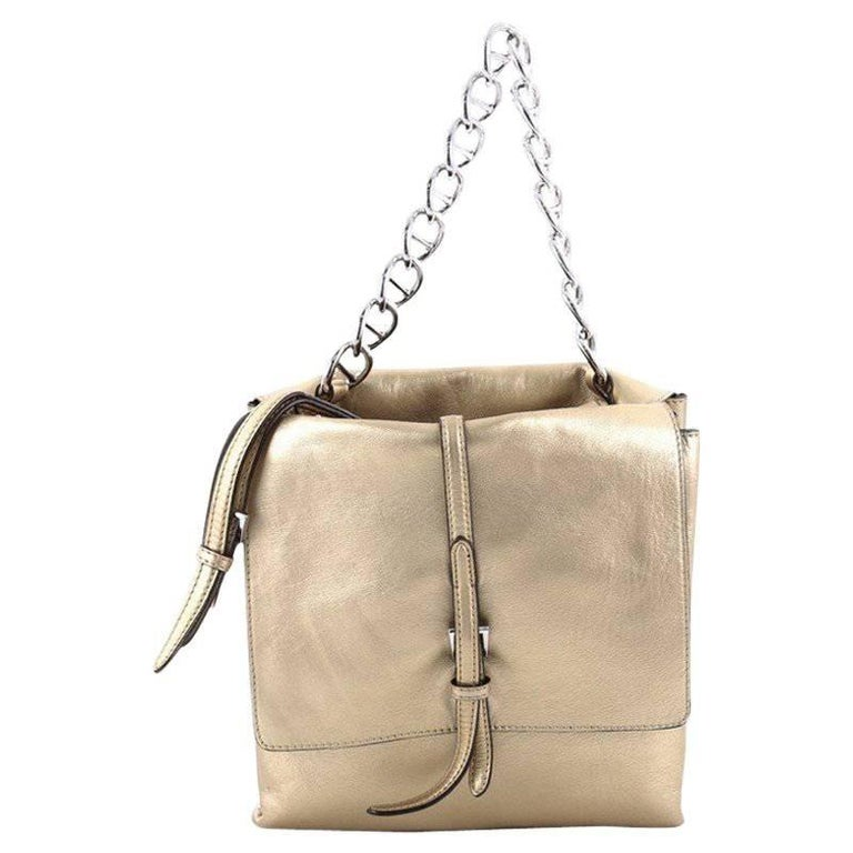Prada Double Flap Turn Lock Shoulder Bag Leather Small