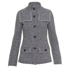 2008 FW CHANEL Black and White Herringbone Weaved Wool Jacket