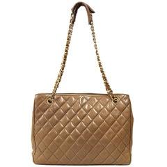 1990s Chanel Brown Leather Matelassé Bag