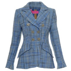 CHRISTIAN LACROIX Blue Winter Check Tweed Blazer Jacket