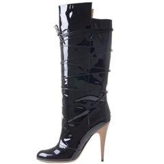 YVES SAINT LAURENT Rive Gauche Black Patent Leather Crisscross Lace Boots