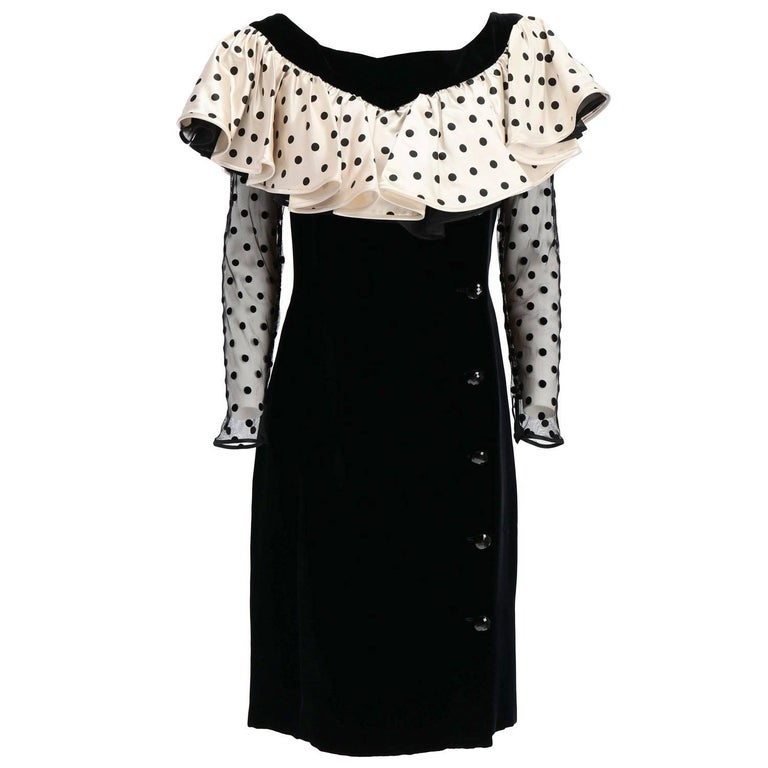 1980s Valentino Black Velvet Dress