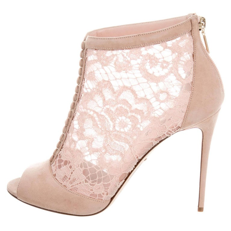 Dolce & Gabbana New Suede Lace Cut Out Evening Heels Booties in Box