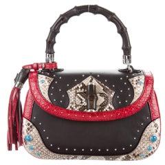 Gucci Limited Edition Snakeskin Bamboo Kelly Top Handle Satchel Shoulder Bag