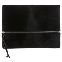Celine New Black Pony Fur Silver Zip Envelope Evening Clutch Flap Bag
