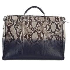 Fendi Like New Snakeskin Leather Weekender Carryall Top Handle Tote Bag
