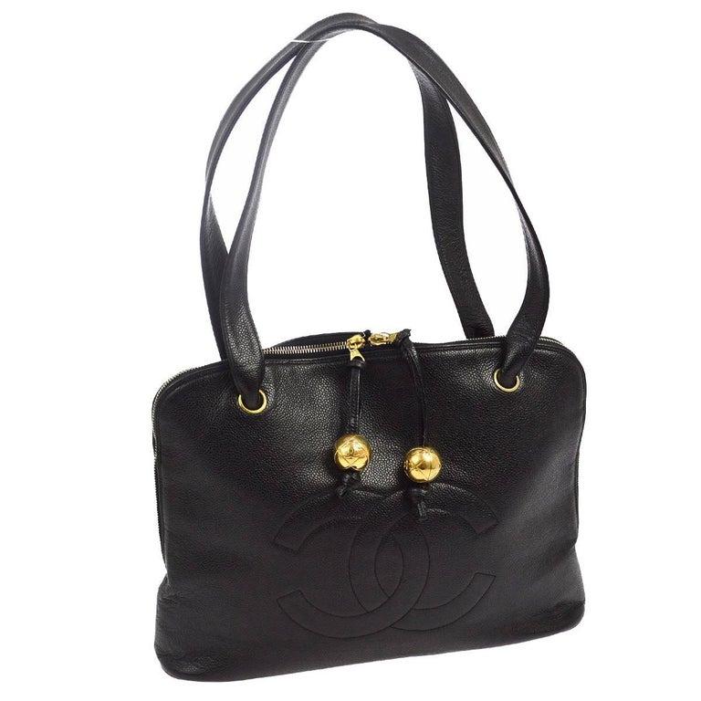 Chanel Black Leather Large Carryall Weekender Travel Tote Shoulder Bag