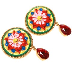 Dolce and Gabbana Painted Flower Clip-on Earrings