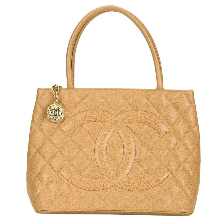 Chanel Nude Caviar Leather Charm Carryall Travel Top Handle Shoulder Tote Bag