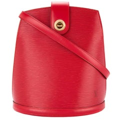 Louis Vuitton Red Leather Gold Evening Bucket Shoulder Bag