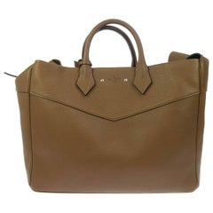 Louis Vuitton New Tan Leather Men's Women's Travel Weekender Carryall Bag