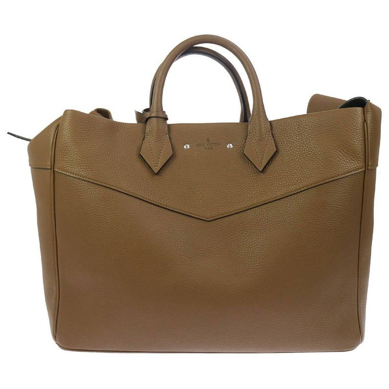 Louis Vuitton New Tan Leather Men's Women's Travel Weekender Carryall Bag