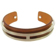 Hermes Leather Palladium Charm Men's Women's Cuff Bracelet in Box