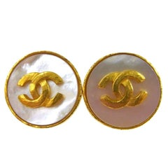 Chanel Gold Metallic Iridescent Charm Stud Evening Earrings