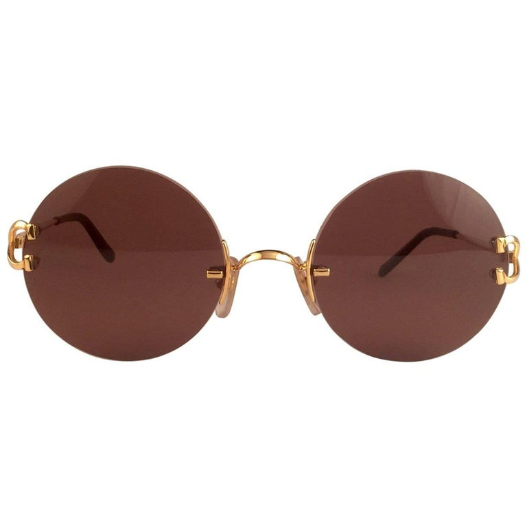 12fa22c5f91 New Cartier Madison Round Rimless Gold 50mm Brown Lens France Sunglasses  For Sale