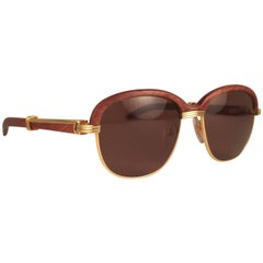 New Cartier Wood Malmaison Precious Wood Palisander and Gold 56mm Sunglasses