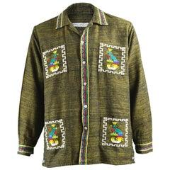 Vintage Men's 1960s Guatemalan Aztec Embroidered Handwoven Cotton Shirt