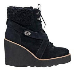 Black Coach Suede & Shearling Ankle Boots