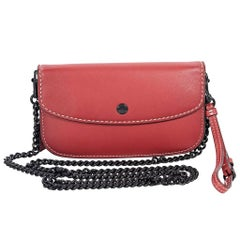 Red Coach Leather Chain Crossbody Bag