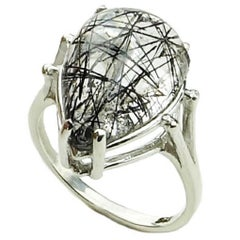 Tourmalinated Quartz Cabochon in Sterling Silver Ring