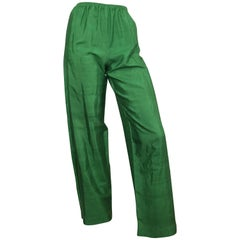 Saint Laurent Rive Gauche 1970s Green Silk Pants Size 4.