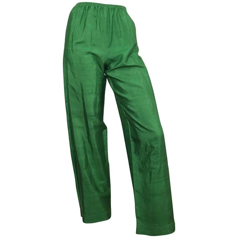 Saint Laurent Rive Gauche 1970s Green Silk Pants Size 4.