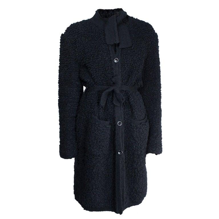 Sonia Rykiel Early knitted black wool coat, circa 1960s 1