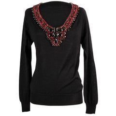 Philipp Plein Couture Top Jeweled Neckline V Neck Sweater L  Like New