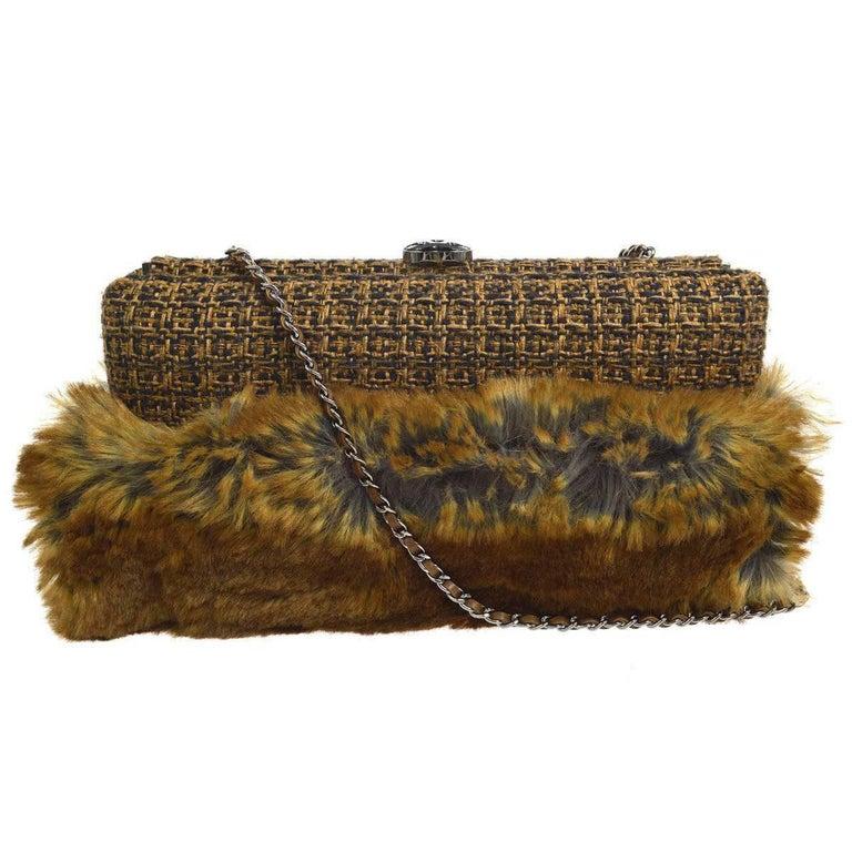 Chanel Cognac Brown Tweed Fur Envelope 2 in 1 Evening Chain Clutch Shoulder Bag For Sale